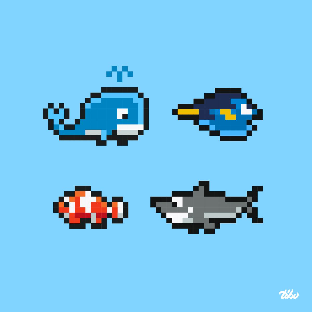 Animaux marins pixel-art