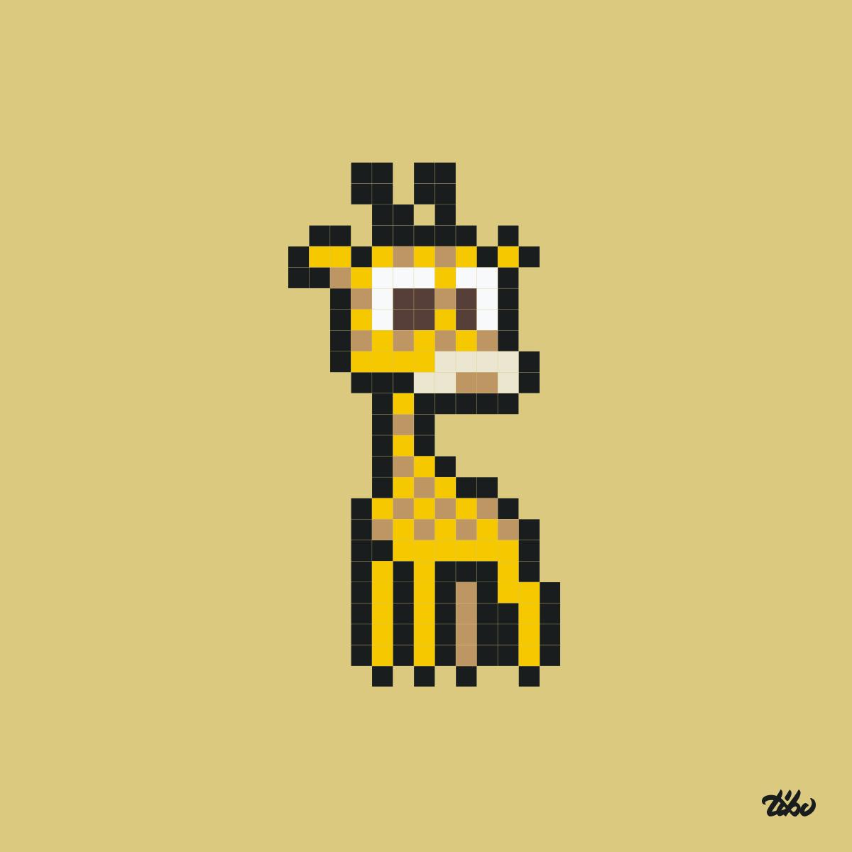 pixel art girafe