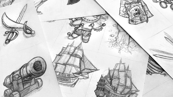 Rough pour illustrations d'un jeu de carte
