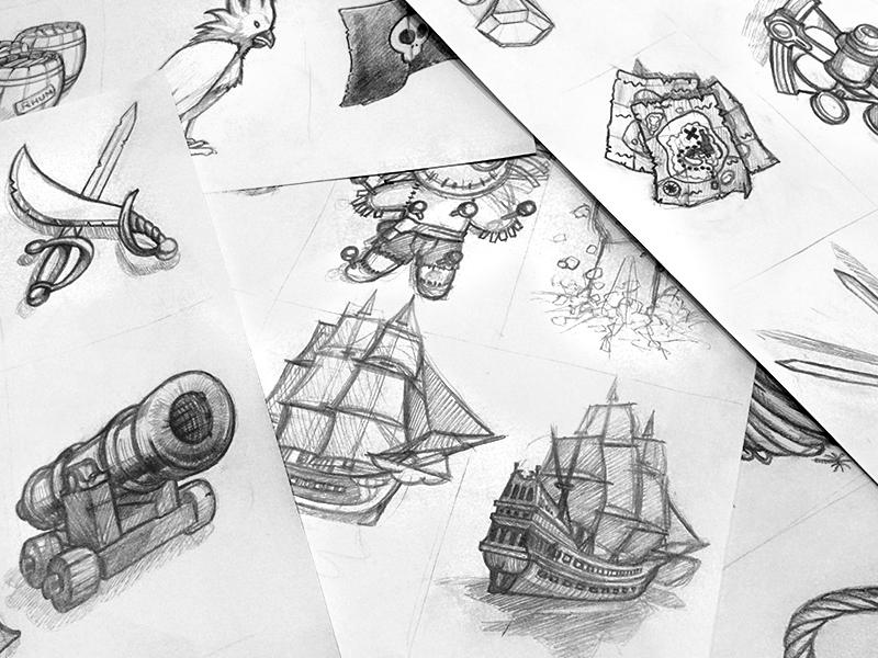 Rough pour illustrations d'un jeu de carte