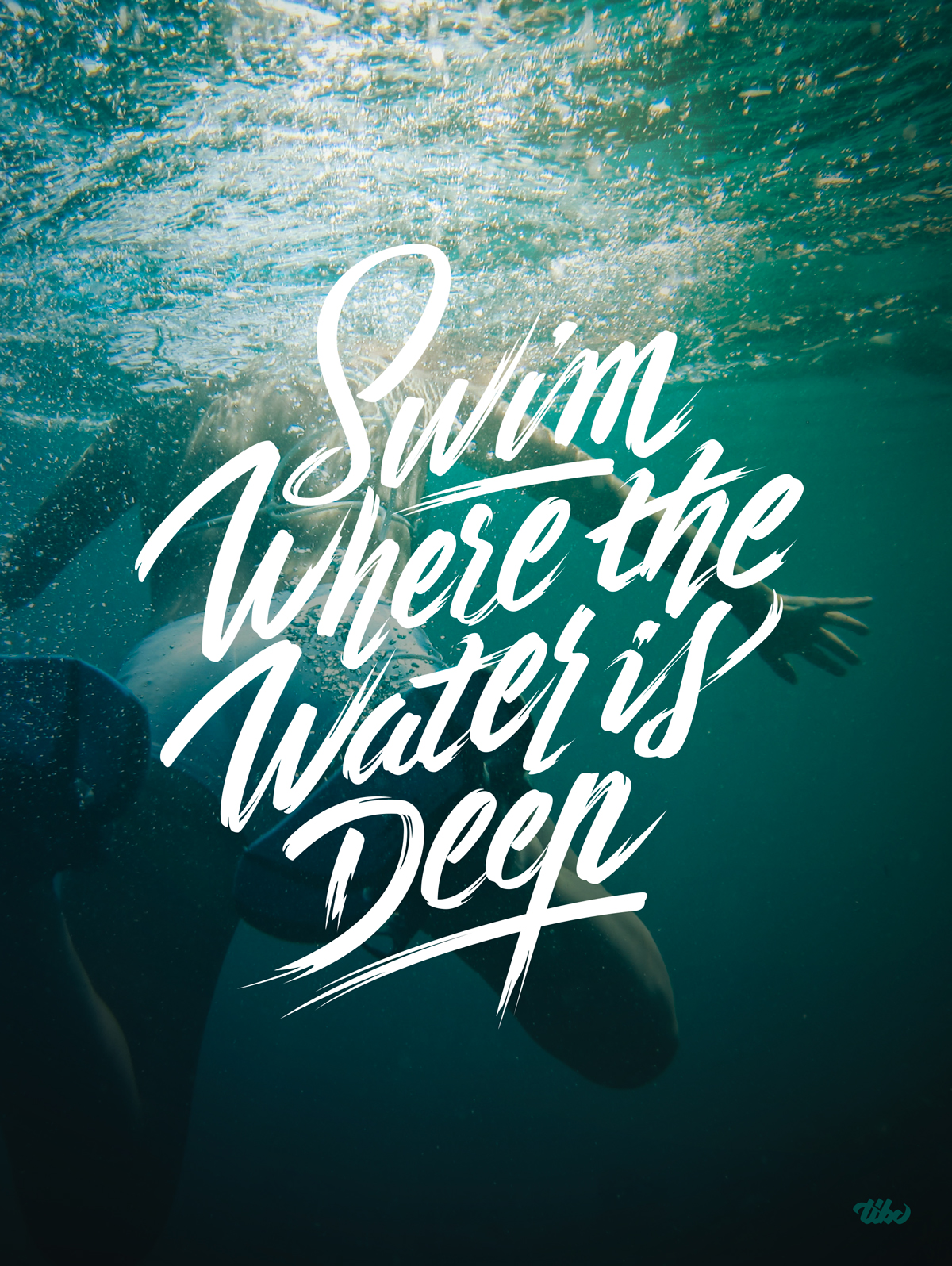 """Swim Where the Water is deep"" Affiche"