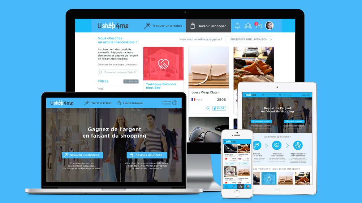 Ushop4me UI/UX design web et application iOS