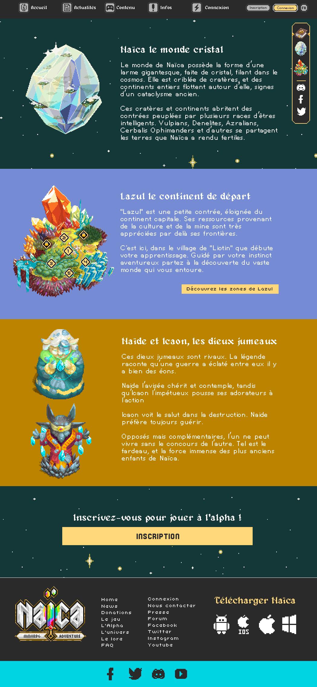 Page d'introduction du lore du jeu vidéo Naïca